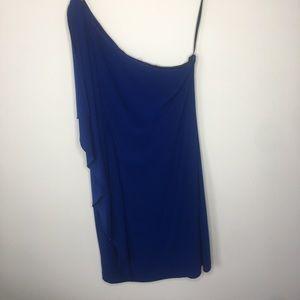 Royal blue one shoulder dress!